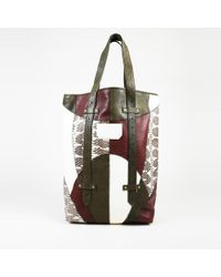 Proenza Schouler Snakeskin Leather Patchwork Tote Bag - Green