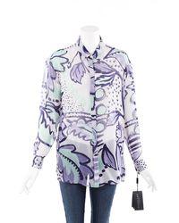 Burberry Prorsum Multicolor Printed Sheer Silk Blouse Purple/multicolor Sz: M