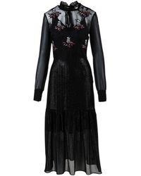 Markus Lupfer - Black Polar Bear Flower Embroidered Tie Neck Dress - Lyst