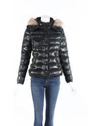Moncler Armoise Fur Hooded Puffer Coat Green Sz: M