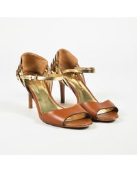 COACH - Brown Gold Leather Open Toe Ankle Strap High Heel Sandals - Lyst