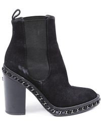 Chanel Suede Chainlink Block Heel Ankle Boots Black Sz: 5.5