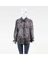 ESCADA - Vintage Multicolour Silk Paisley Printed Ls Button Up Blouse - Lyst
