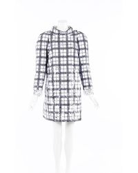 Chanel Black Checked Sequin Tweed Dress - White