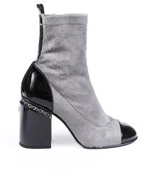Chanel Calf Hair Cap Toe Ankle Boots - Grey
