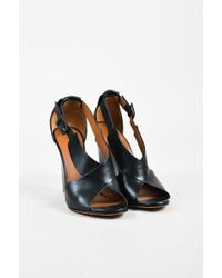Givenchy - Black Calfskin Leather Crisscross Ankle Strap Wedge Sandals - Lyst