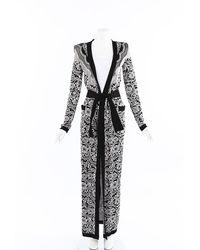 Balmain Floral Knit Duster Black/white/floral Print Sz: S
