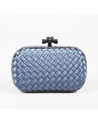 Bottega Veneta Blue Satin & Snakeskin Leather Knot Clutch