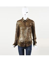 Michael Kors - Collection Animal Print Metallic Silk Top - Lyst