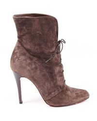 Christian Louboutin Vintage Brown Suede Lace Up Boots Brown Sz: 9.5