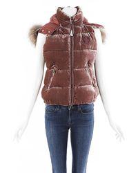 Moncler Gallinule Gilet Velvet Fur Hooded Vest Pink Sz: M