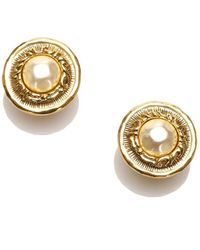 Chanel Cc Faux Pearl Clip-on Earrings - Metallic