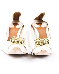 Chloé Studded Leather Pumps White Sz: 6