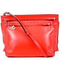 Loewe T-pouch Red Leather Zip Crossbody Bag Red Sz: M
