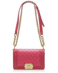 Chanel Small Boy Lambskin Leather Flap Bag - Red