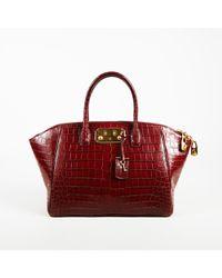 """VBH - Edition 101/300 Red Crocodile Skin Top Handle """"brera"""" 34 Cm Satchel Bag - Lyst"""