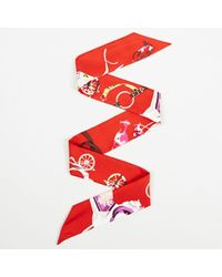 "Hermès - Multicolour Silk ""tout En Carre Chevron"" Print ""twilly"" Scarf - Lyst"
