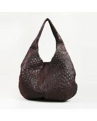 Bottega Veneta Ostrich Leather Hobo Bag - Brown