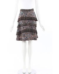 Proenza Schouler Printed Silk Tiered Skirt Pink/multicolor/geometric Sz: Xs - Black