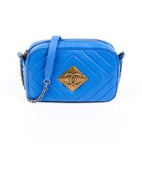 Chanel Blue Quilted Lambskin Leather Pyramid Cc Camera Bag