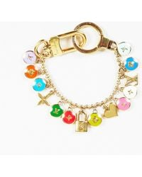 "Louis Vuitton - Gold Plated Metal Multi Enamel ""looping Key Chain"" Bracelet - Lyst"