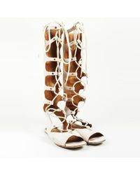 Chloé Beige Suede Gladiator Sandals - Natural