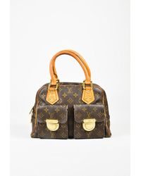 "Louis Vuitton | Brown Monogram Coated Canvas ""manhattan Pm"" Satchel Bag | Lyst"