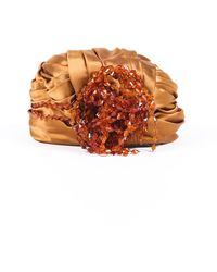 Dior Vintage Chapeaux Beaded Satin Turban Orange Sz: