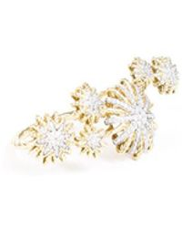 David Yurman Starburst Double Ring With Diamonds In 18k Gold - Metallic