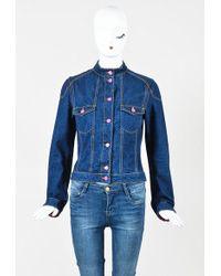 Etro - Denim Yellow Topstitch Pink Button Up Jacket - Lyst