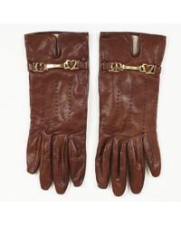 Moschino - Brown Leather Driving Gloves - Lyst