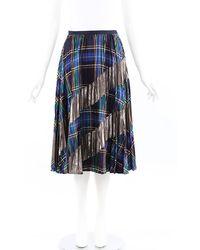 Tanya Taylor Reyna Plaid Pleated Skirt Blue/multicolor Sz: S