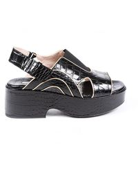 Dries Van Noten Embossed Croc Slingback Platform Sandals - Black