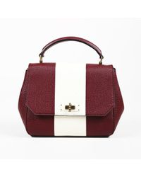 4feb9950fff1 Bally - Red White Grained Leather Striped Shoulder Bag - Lyst