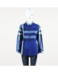 Burberry Brit Exploded Check Button Up Top - Blue