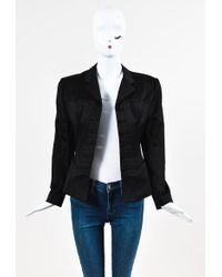 Alaïa | Black Cotton Structured Corset Stitched Long Sleeve Blazer Jacket | Lyst