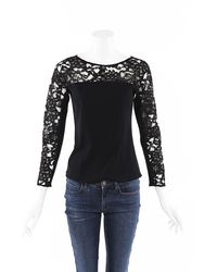 Chanel Lace Stretch Knit Top Black Sz: S