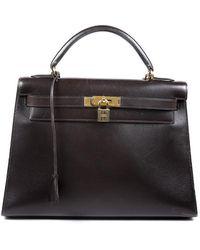 Hermès Vintage Kelly Retourne 32 Box Calf Satchel Brown Sz: M