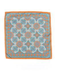 Hermès Printed Silk Pocket Square Blue/orange Sz: