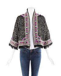Isabel Marant Studded Sequin Embroidered Fringe Wool Jacket Black/multicolor Sz: S