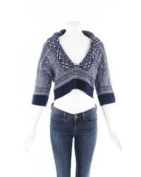 Chanel Cashmere Knit Cropped Jumper Blue/geometric Sz: S