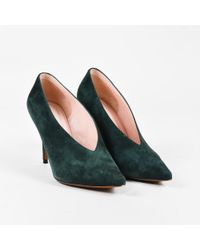 """Céline - """"forest"""" Green Suede V Neck Pointed Toe Pumps - Lyst"""