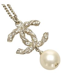 Chanel Cc Faux Pearl Necklace - Metallic