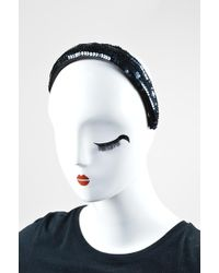 Chanel - Navy Sequin Embellished Thick Headband - Lyst