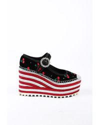 Marc Jacobs Anjelica Black Velvet Red Cherry Espadrille Platform Wedges