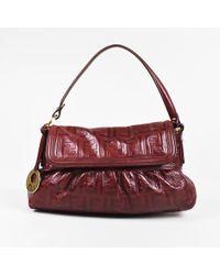 "Fendi - Red Leather 'ff' Zucca Embossed ""chef"" Handbag - Lyst"
