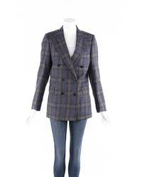 Officine Generale Manon Plaid Wool Silk Blazer - Blue
