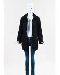 Hermès - Vintage Black Nylon Blend Embroidered Coat - Lyst