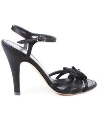 Chanel Leather 'cc' Bow Ankle Strap Sandals Black Sz: 6.5