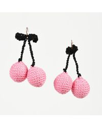 "Rosie Assoulin - Nwot Pink & Black Crochet Knit ""pair Of Cherry"" Drop Earrings - Lyst"